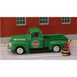 "1948 Ford Pickup ""Coca Cola"" (Green) w/Handcart, Coke Bottle Cases"