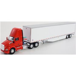 Kenworth T680 w/53' Utility Dry Van Trailer w/Trailer Skirts (Red/White)