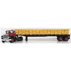 "Ford LN-9000 ""Louisville"" w/48' Wilson Flatbed Trailer & Sack Load (Red/Black)"