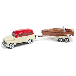 1950 Chevy Suburban w/Wooden Speedster Boat (Bombay Ivory & Red)