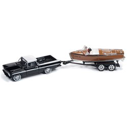 1959 Chevy El Camino w/Wooden Barrelback Boat (Tuxedo Black & White)