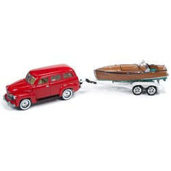 1950 Chevy Suburban w/Wooden Speedster Boat (Red)