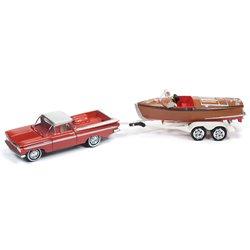 1959 Chevy El Camino w/Wooden Barrelback Boat (Cameo Coral & Satin Beige)