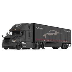 """Freightliner Cascadia w/53' Dry Van Trailer & Skirts (Black) """"Chevrolet C8 Corvette"""""""