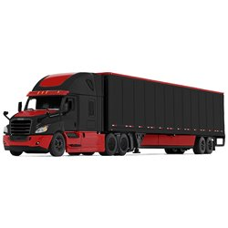 Freightliner Cascadia w/53' Dry Van Trailer & Skirts (Black/Red)
